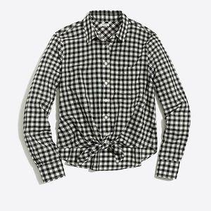 J.Crew Factory black & white plaid tie-front shirt